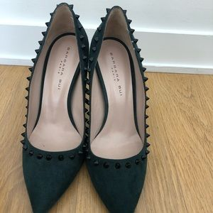 Barbara bui suede studded pumps in emerald green